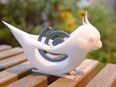 INKO KAYARI (Mosquito coil holder in the shape of a cockatiel) by fumikono http://thingiverse.com/thing:419132