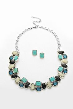 Becca Necklace in Silver and Cool Colors