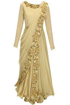 J by Jannat presents Beige dabka and thread embroidered draped anarkali set available only at Pernia's Pop-Up Shop. Muslim Fashion, Ethnic Fashion, Indian Fashion, Indian Designer Outfits, Designer Dresses, Indian Outfits, Indian Gowns Dresses, Pakistani Dresses, Salwar Kameez