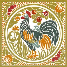 art nouveau rooster
