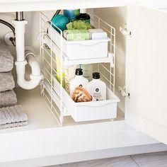 Under Sink Organizers & Bathroom Cabinet Storage Organization Kitchen Cabinet Remodel, Diy Kitchen Cabinets, Bathroom Cabinets, Kitchen Ideas, Kitchen Decor, Space Kitchen, Bathroom Vanities, Kitchen Design, Bathrooms