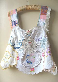 Vintage Linen Doily Top, Embroidered, Lace, Flowers, Patchwork, Whites, Blue…