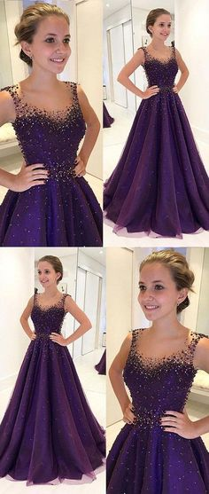 2018 New Fashion Purple Prom Dress,Beaded Sleeveless Party Dress,A-Line Evening Gown