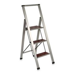 3-Step Aluminum and Wood Ladder - BedBathandBeyond.com