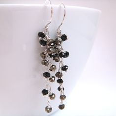 Night Out Earrings Gold Black Sterling Silver Cluster by aubepine, $45.00