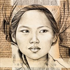 Pao woman in Nam Pan market - Inle Lake - Myanmar: Small Canvas Paintings, Ledoux, Creation Art, Drawing Exercises, Cool Art Drawings, Face Art, Art Faces, Drawing People, Portrait Art
