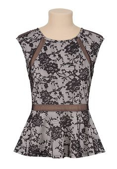 Lace Illusion Peplum Top (original price, $29) available at #Maurices