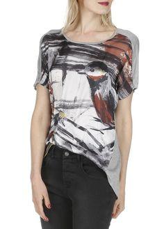 Tee-shirt bi-matière imprimé oiseaux Gris by LA FEE MARABOUTEE