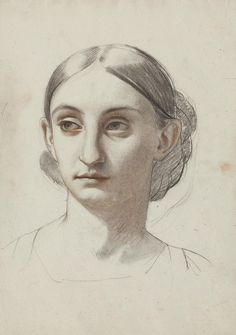 Isidore Pils HEAD OF A WOMAN estate stamp on the reverse red and black chalk on paper 15 1/2 by 11 in. 39.4 by 27.9 cm
