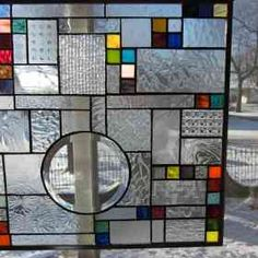 Mona Stained Glass Window Panel Abstract Geometric EBSQ Artist