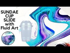 This fluid acrylic paint pouring art piece was poured on a Oval Canvas. I used a leftover McDonald's sundae cup in order to slide the fluid acrylic p. Acrylic Resin, Acrylic Art, Painting Projects, Acrylic Cups, Resin Art Painting