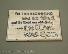 engraving, wood, Bible verse, John 1:1 | Lone Star Engravers