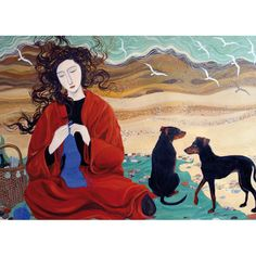 Dee Nickerson, Girl In A Red Blanket, Art Card