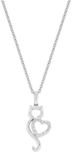 ASPCA® Tender Voices® 10k White Gold Necklace, Diamond Accent Cat Pendant on shopstyle.com