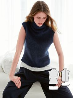 Sleeveless Turtleneck 11/2015 - Under the fluffy mohair knit is a white panel top. It is made with small snaps and can be unbuttoned.