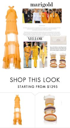 """""""Spring 2017 - Marigold"""" by conch-lady ❤ liked on Polyvore featuring TIBI, Prabal Gurung, Christian Louboutin, marigold and Spring2017"""