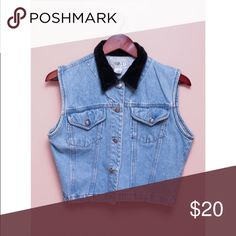 Vintage 90s Denim Crop Top Button Up Vest This is a women's, vintage, 90's, button up, denim, light blue, crop top with two small front pockets and a black velveteen collar. Great vintage condition!  •Brand: Vision I •Size: Marked a medium, see measurements •Measurements laying flat: 18 inches long, 19 inches wide Vintage Tops Crop Tops