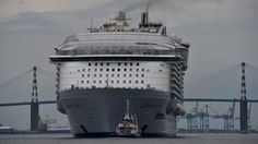 Harmony of the Seas, the world's largest cruise ship still under construction, begins its first sea trial in western France.