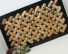Trellis Bulletin Board made from Recycled Wine Corks. $50.00, via Etsy.