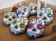 Sugar Skulls Christmas Tree Ornament Set Day of the Dead Dia De Los Muertos by TheElfinForest on Etsy