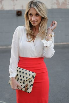 coral skirt, dotted clutch
