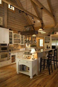 53 Sensationally rustic kitchens in mountain homes - Kitchen - Home Sweet Home Kitchen Decorating, Log Home Decorating, Decorating Ideas, Decor Ideas, Wood Ideas, Interior Decorating, Log Cabin Kitchens, Log Cabin Homes, Rustic Kitchens