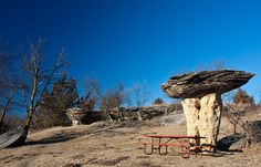 Curious rock formations in a tiny Kansas state park.