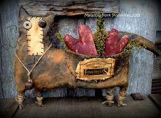 Primitive Folk Art Valentine Love Spells Cat by MeadowForkPrims