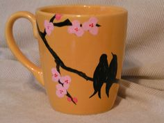 Love Birds painted cup by cherigueco on Etsy, $25.00