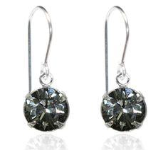 Grey Single Crystal Drop Earrings - $9.80