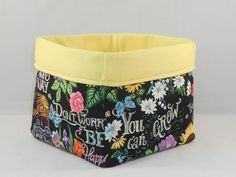 Fabric Basket Made With Chalkboard Style Friendship Fabric For Storage Or Gift Giving