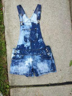 bleach denim overall shorts