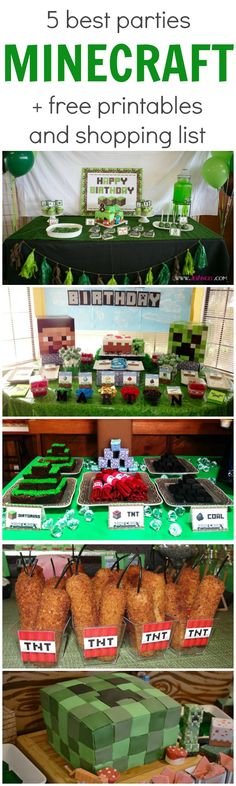 5 Best MINECRAFT Parties - including links to party supplies and free printable ideas