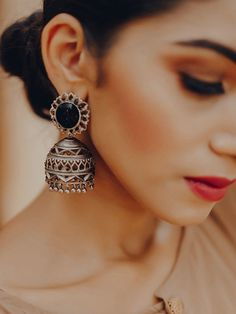 Buy Silver Plated Onyx Semi Precious Stone Brass Jhumkies online at Theloom