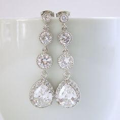Wedding Jewelry Bridal Earrings Silver Clear by poetryjewelry