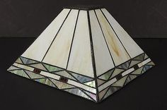 Vintage Square Stained Glass Lamp Shade Light Globe Cream Color | eBay