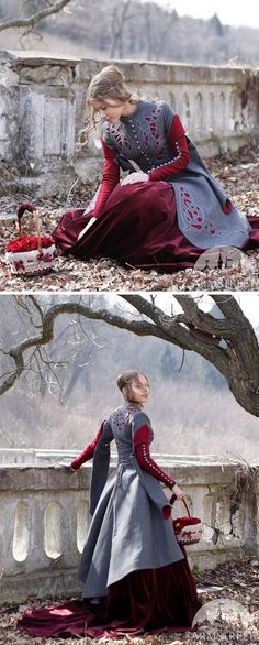 Little Red Riding Hood Coat Costume; woolen gray coat; fairy tale costume