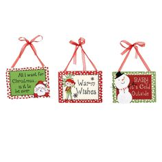 "Christmas Whimsey Metal Wall Plaque Set of 3 8.00"" x 6.00"" Material: Metal Red, White Green ""All I want for Christmas is for it to be over"" ""Warm Wishes"" ""Baby it's Cold Outside"" Set includes"