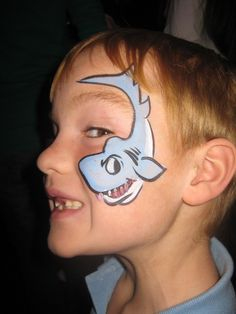 Amazing Face Painting at the Aquarium Shark Face Painting, Face Painting For Boys, Face Painting Designs, Body Painting, Animal Face Paintings, Cheek Art, Face Paint Makeup, Cool Face, Painting Workshop