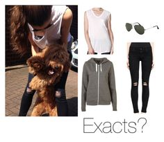 """""""eleanorj92: A year ago today... when Bruce was a baby puppy"""" by thetrendpear-eleanor ❤ liked on Polyvore featuring Calder, T By Alexander Wang, J Brand, Ray-Ban and Topshop"""