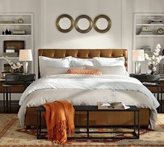 Zebra Matelasse Duvet Cover & Sham - check out metal bench at end of bed and simple roll pillow in orange