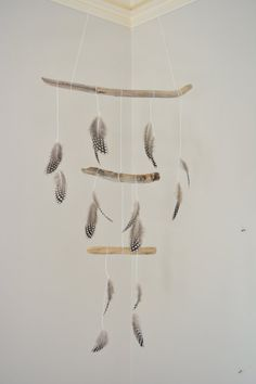 driftwood + feather mobile
