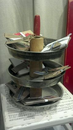 3tier stand made from vintage rolling pin & pie pans