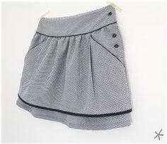 """jupe, patron """"Pélagie"""" : citronille les transformations: biais contrasté, plis, passepoil à la taille, ajout de poches ! by jaclyn"""