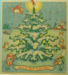 vintage Advent calendar from Germany, typical Erzgebirge-style designs, usually produced by Wendt & Kuhn. published by Merzdorf & Frosch, Saalfield. ca 1949