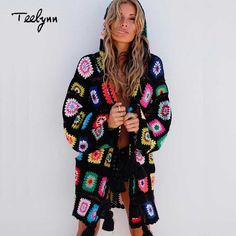 TEELYN 2018 boho cardigans floral knitted sweater long sleeve tassel  decoration hooded loose Hippie Casual women 7972365f03d9