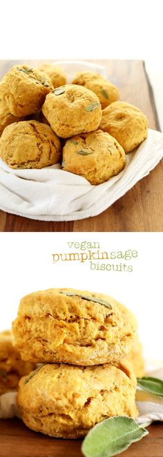 Pumpkin Sage biscuits/ Muffins made in 1 BOWL in just 30 minutes! Sound wonderful... Fluffy, Warm, Subtly pumpkin-y & Infused with fresh sage... #vegan #fall #pumpkin