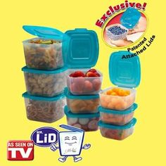 #Mr. Lid #Containers feature an ingenious attached lid design. Each snap-close lid is permanently attached to its base so you'll never misplace it or have to sort through a pile of lids looking for a match.