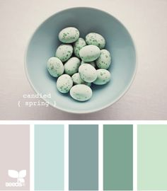 coastal palette. Love that all if the colors would brighten up dark gray.