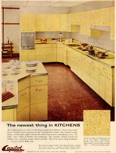 50's kitchen? Look at all those cabinets! And linoleum floor...